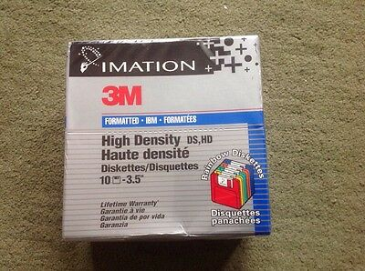 """3M IMATION Floppy Disk DS-HD 1.44MB 3.5"""" 10 Discs (Sealed) Rainbow Version"""