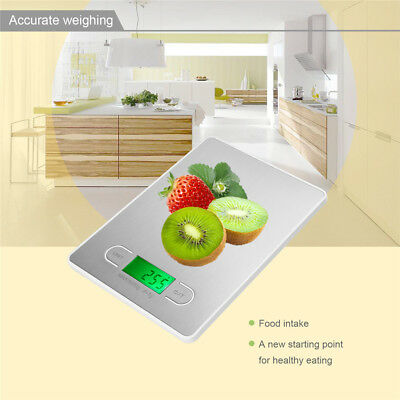 5Kg Food Cooking Slim Black Glass Digital Lcd Kitchen Weighing Scales Electronic
