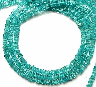 """Natural Gemstone Apatite 4.5Mm Square Heishi Beads 16"""" Finished Necklace"""