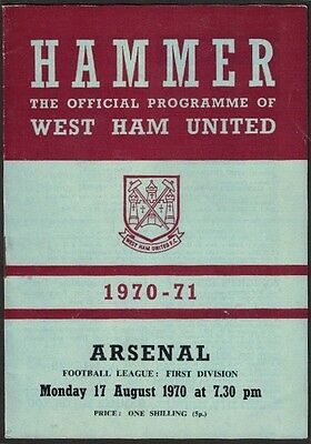 WEST HAM v. ARSENAL, DIVISION 1, 17th AUGUST 1970.