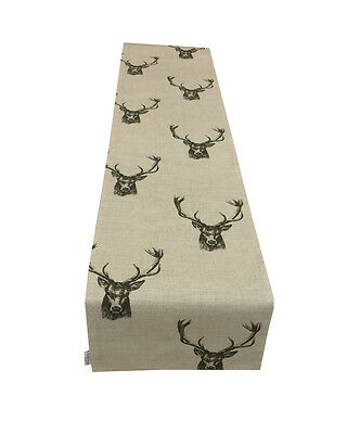 Fryetts fabric Table bed runner STAG HEADS fully lined Charcoal Grey Beige