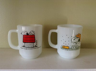 Vintage 1958 Snoopy Peanuts Fire king Anchor Hocking Coffee Mugs
