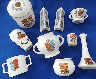 10 Pieces of W H Goss Crested China - Hair Tidy & Assorted Pots & Vases