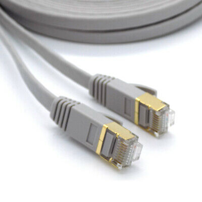 Flat RJ45 CAT7 Network LAN Ethernet SSTP 10Gbps Fast Gigabit Patch Cable 1m - 5m