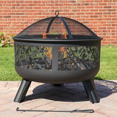 Kingfisher Elegant Black Metal Steel Fire Pit W/ Floral Detail Garden Furniture