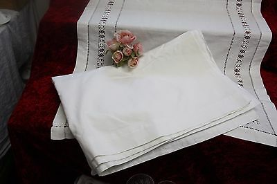 "Vintage White Cotton Single Sheet Smooth & Strong 69"" wide X 95"" Long"