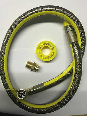 """UNIVERSAL Oven Cooker Gas Hose 3ft 1/2"""" Angled Bayonet Micro Pipe Connector PTFE"""