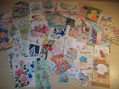 Lot of 45~Greeting Cards~Used/Unused~Baby Shower~Scrapbook~Vintage~Tags