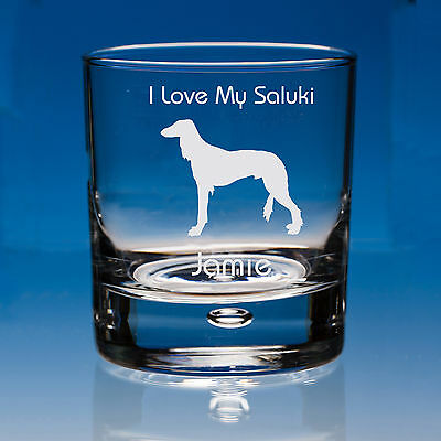 Saluki Dog Lover Gift Personalised Hand Engraved Whisky Glass