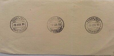 Portugal / Azores Specimen Piece With 3 Strikes Of Ponta Delgada Postmarks