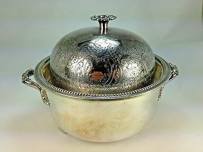 Antique 1835 Horace Woodward & Co Engoland Silver Plate Iced Butter Dish/Bowl