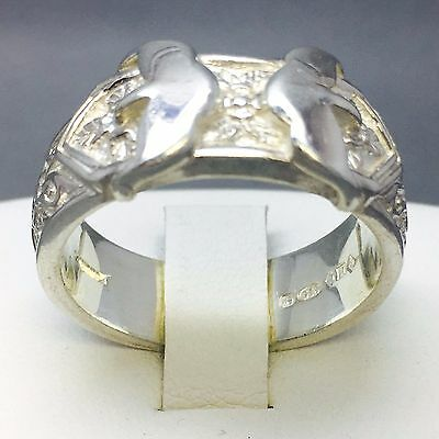 """Men's 925 Sterling Solid Silver Wedding Double Buckle Dress Ring  Size """"z"""" 601"""
