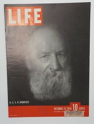 Original Life Magazine COVER ONLY October 23 1944 USSR Scientists