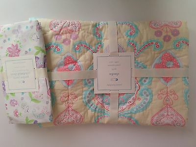 Pottery Barn Kids Baby Toddler Nursery Claudia Crib Quilt & Fitted Sheet Set