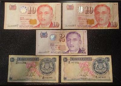 24 Singapore Dollars $24 Including Two Orchard $1 Notes  EXCHANGEABLE