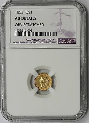 1852 Liberty Head Gold Dollar $1 AU Details NGC