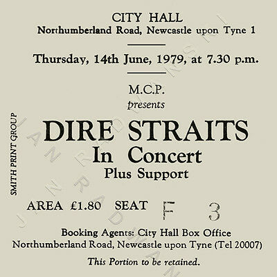 Dire Straits/Mark Knopfler Concert Coasters Ticket June 1979 High quality mdf