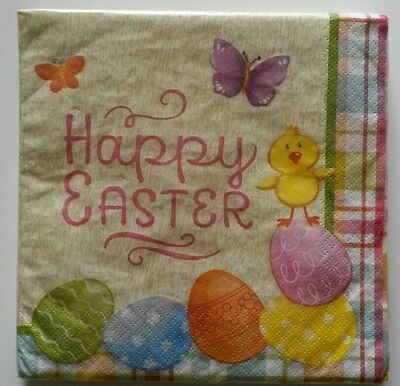 """18 ct 2 ply Paper Party Lunch Napkins 13"""" ~ Happy Easter Eggs Chick Butterflies"""
