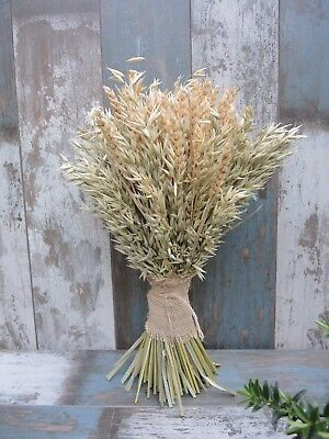 """Wheat & Oat Sheaf Dried Flowers Bouquet Harvest Rustic Country Centrepiece 13"""""""