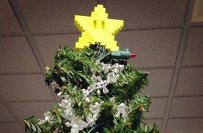 "Mario Star Christmas Tree Topper ""Yellow Only"""
