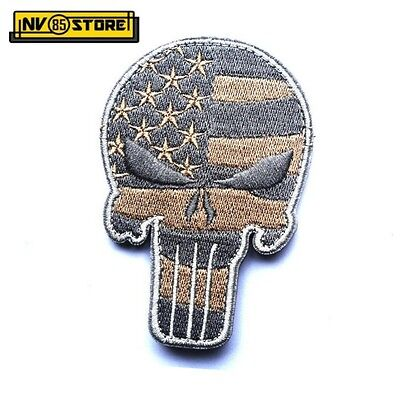 Patch Ricamata SKULL Sniper Punisher USA 9 x 6 cm Militare Velcrata Grey ACU