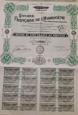 France French Paris 1908 Zeppelin Dirigible Company 100 Franc VERY RARE UNC Bond
