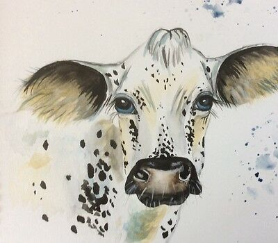Limited signed print of my original painting A4 cow