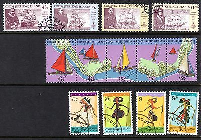 Cocos Islands used/franked sets 1990-2000 Birds, Boats, Fish
