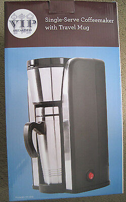 VIP Member Single Serve Coffeemaker w Travel Mug #CM-1318 Silver 600-899W Auto S