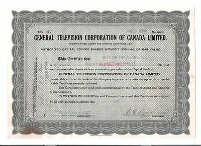 General Television Corporation of Canada Ltd.---Very early television co. RARE!