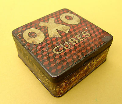 Vintage Early OXO CUBES Advertising TIN box 50 Cubes 4 inch Antique Kitchen item