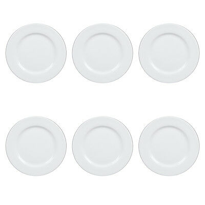 "6 Syracuse China Slenda 10.5"" Plates Wholesale Bulk Lot Round White Porcelain"