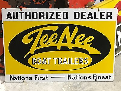Vintage Tee Nee Boat Trailers Dealer DSP Double Sided PORCELAIN Sign GAS oil OLD
