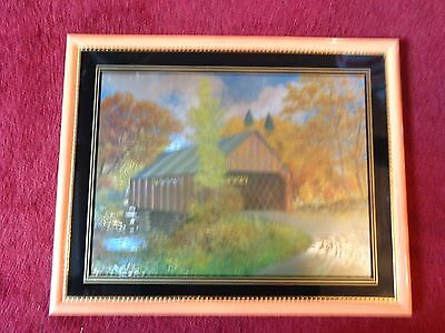 Framed/matted Coke Cola Covered Bridge In Fall Picture By  Robert Doares
