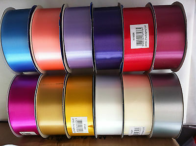 10 METER M WEDDING RIBBON CRAFT FLOWER FLORISTRY 2 INCH (5cm) VARIOUS COLOURS