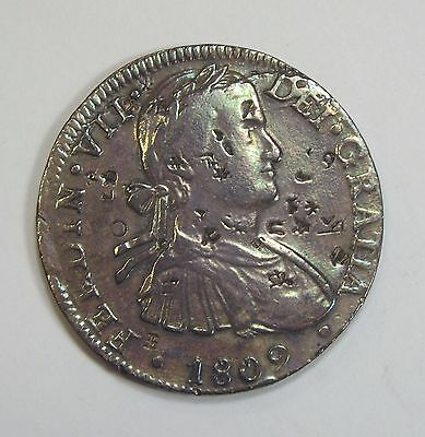 1809-MO MEXICO Ferdinand VII 8 Reales Silver Coin FINE with Chopmarks