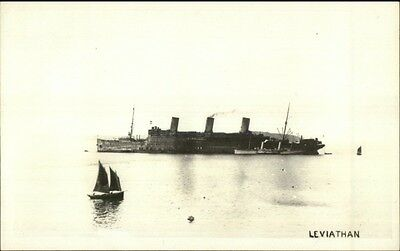 WWI Troop Transport Ship Leviathan c1919 Real Photo Postcard