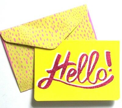 Set of 8 Blank Notecards & Envelopes ~  Hello! Pink Glitter Yellow
