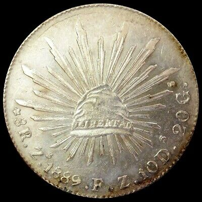 1889 Zs FZ SILVER MEXICO 8 REALES  CAP & RAYS COIN UNC CONDITION ZACATECAS MINT