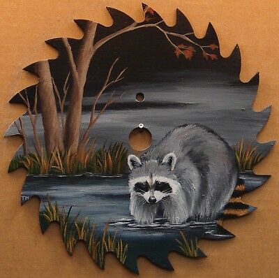 Hand Painted Saw Blade Raccoon in Pond Original Cabin Lodge Hunting Decor