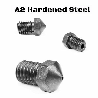 A2 Hardened Steel RepRap M6 Thread 1.75mm Filament Nozzle for E3D 3D Printer USA