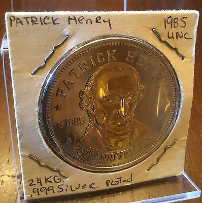 Patrick Henry Double Eagle Coin Layered in .999 Fine Silver & 24K Gold Token