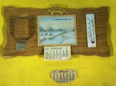 1918 Advertising Calendar and Thermometer