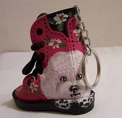Bichon Frise hand painted mini faux leather boot key ring real shoestrings