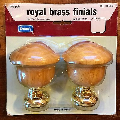 "KENNEY Royal BRASS Light OAK Finish FINIAL Set Fits 1-3/8"" Diameter Curtain Rod"