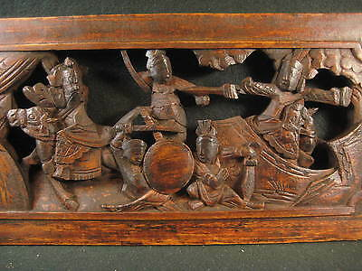 Antique Chinese Hand Carved Wooden Kung Fu Warriors