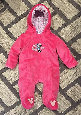 DISNEY BABY~Girl~MINNIE MOUSE~Pink~HOODED~WINTER SNOW SUIT~Newborn~0-3 Months