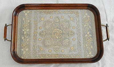 Antique Serving Tray w Silk Islamic Ottoman Turkish Embroidery Tapestry Textile