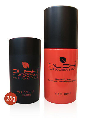 Dushi Moroccan Hair Building Fibers 25g + Hair Locking Spray 100ml