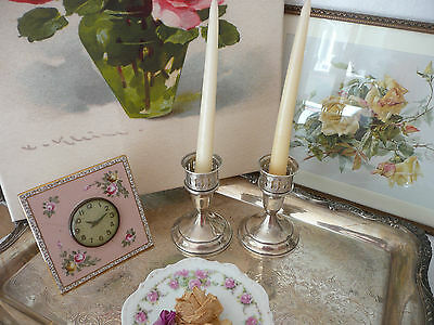 PAIR Lovely Towle Vintage STERLING Silver Candlesticks~Candle Holders w Adapters